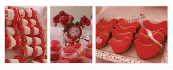 party food inspiration, pink and red party theme, gingerbread birds, candy kebabs