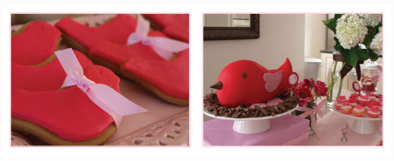 bird cake, pink and red party theme, 5th birthday party girls