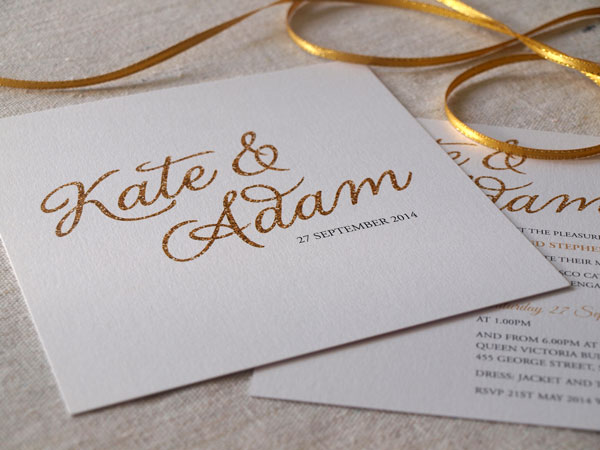 glittery gold wedding invitations