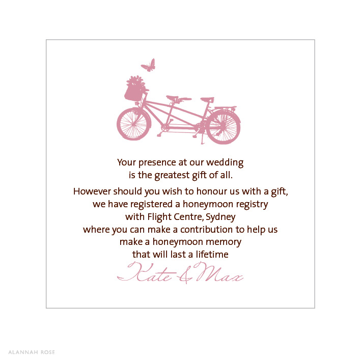 Wedding Invitation Wording For Gifts: Bicycle Built For Two Pink Gift Registry Card