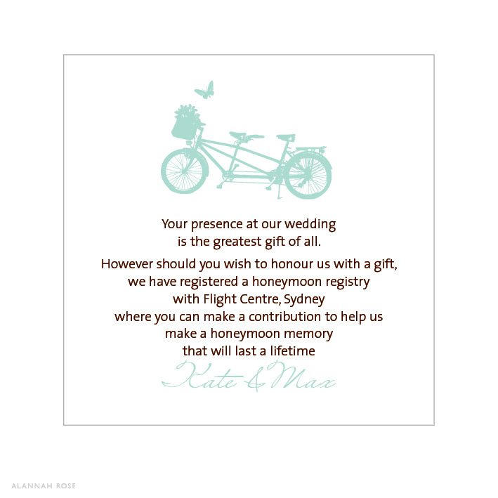 Wedding Invitation Registry Wording: Bicycle Built For Two Gift Registry Card