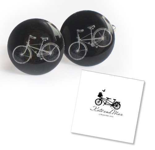 black and white bicycle invitations