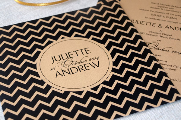 black and gold chevron wedding inviations