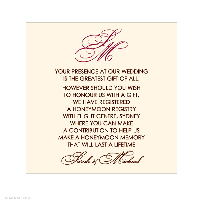 Gift Registry Cards In Wedding Invitations: Fancy Face Gift Registry Card