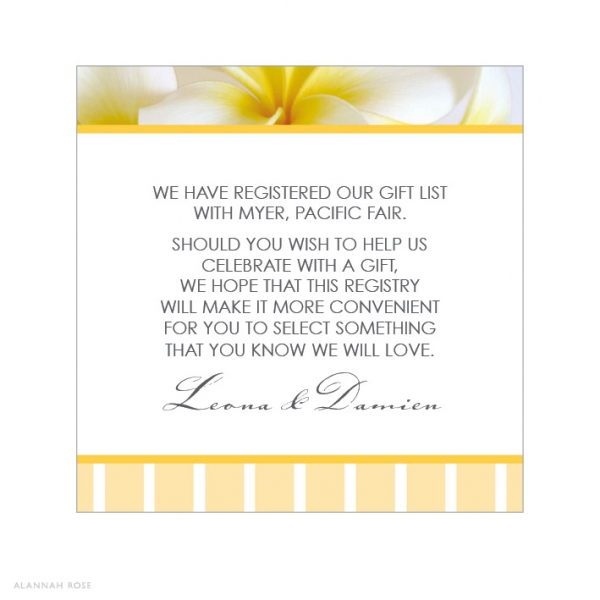 Wedding Invitation Registry Wording: Frangipani Dance Gift Registry Card