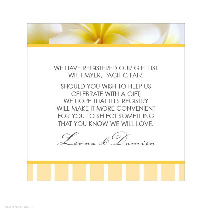 Frangipani Dance Gift Registry Card Alannah Rose