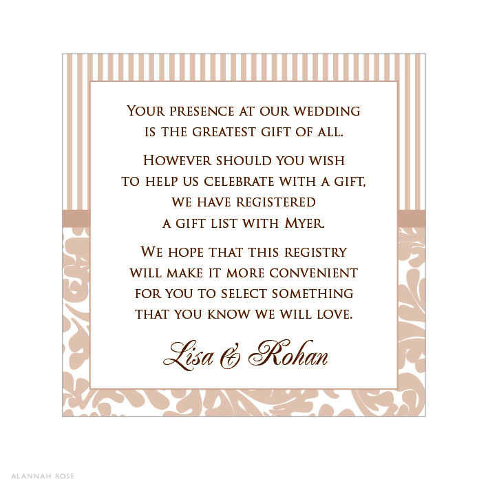 Gift Registry Wording For Wedding Invitations: Hollywood Glamour Registry Card