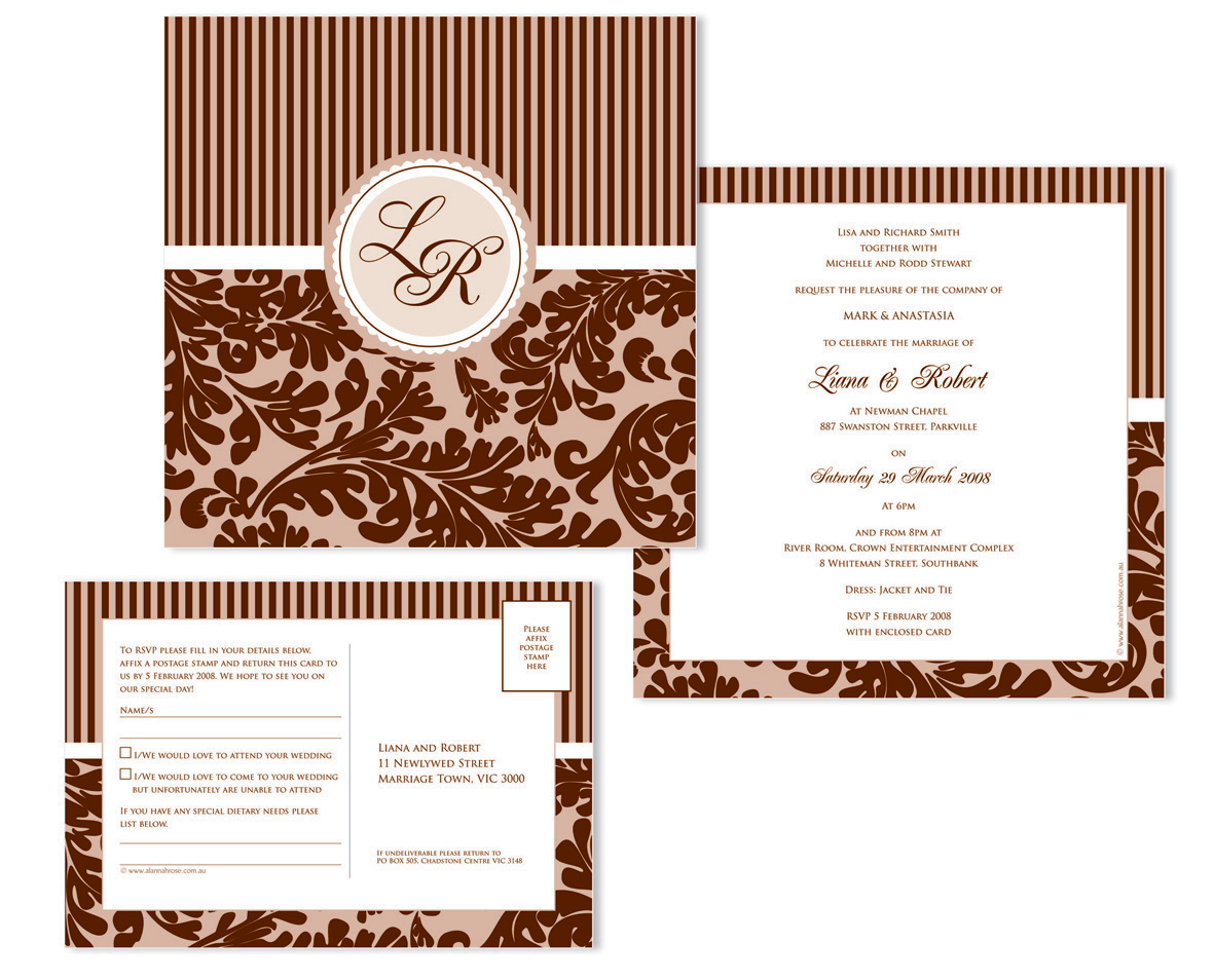 hollwood riches wedding invitation and rsvp card