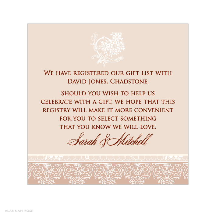 Wedding Invitation Registry Wording: Latte Lace Gift Registry Card