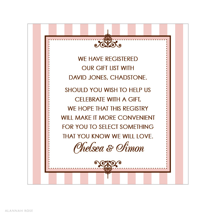 Wedding Invitations Gifts: Le Sweet Boutique Gift Registry Card