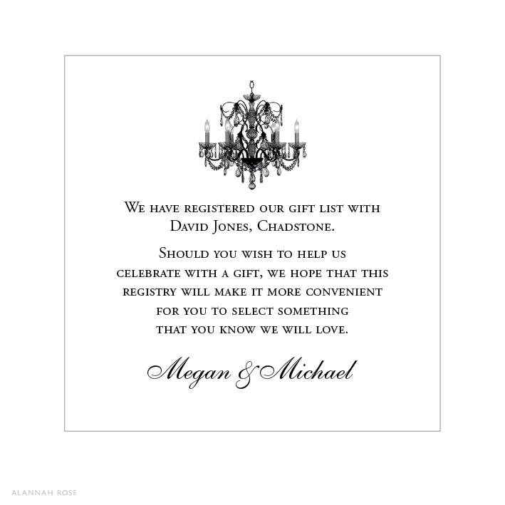 Wedding Invitation Wording For Gifts: Love Light Gift Registry Card