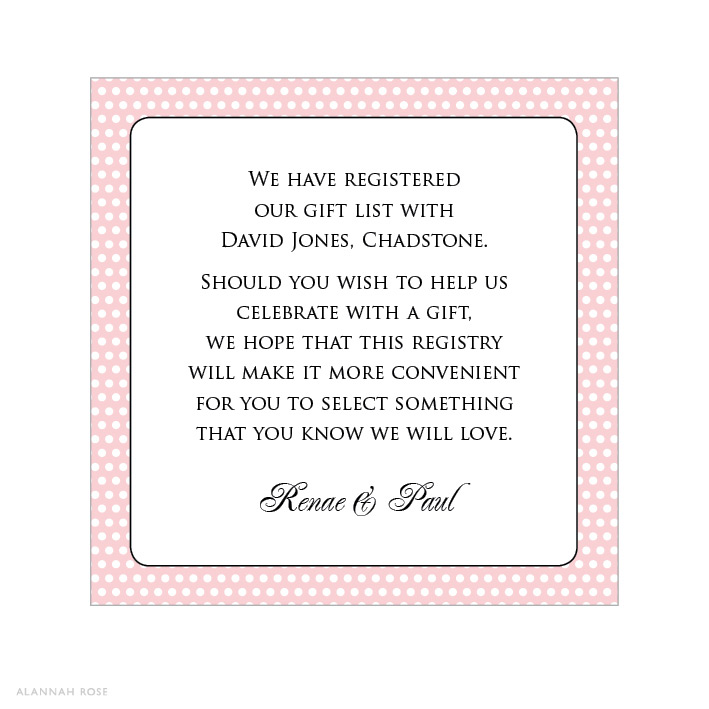 Wording For Money In Lieu Of Wedding Gifts: Mademoiselle Polka Dot Blush Gift Registry Card
