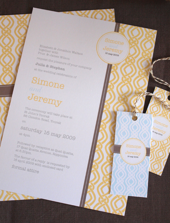 yellow wedding invitations, modern retro invitations