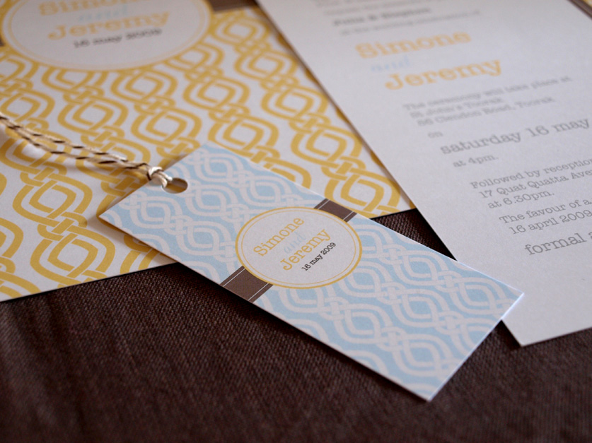 modern retro yellow wedding invitations bon bon tagsg