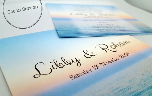 Beach themed wedding invitation