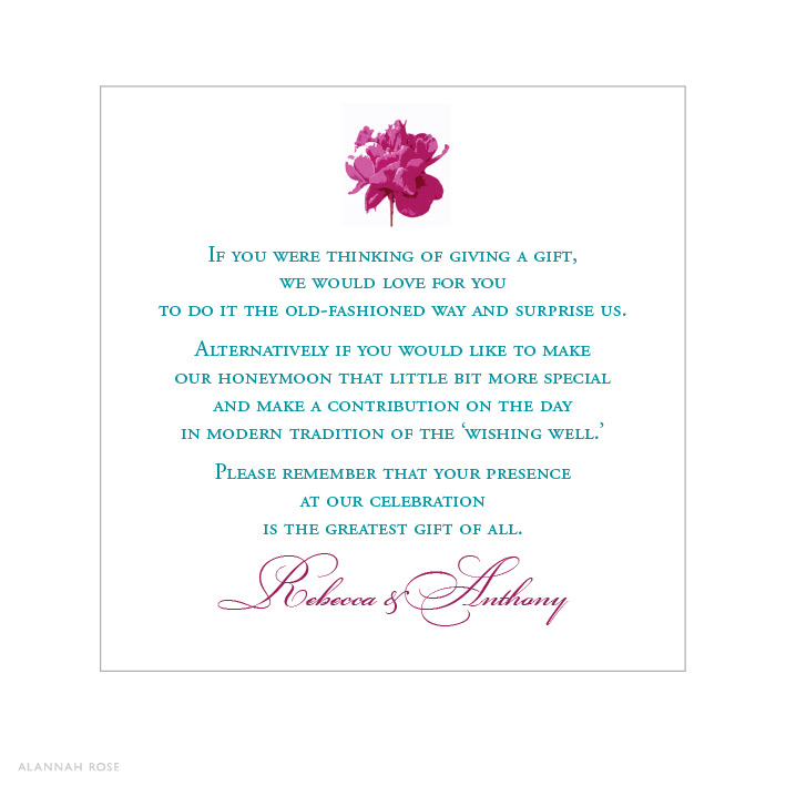 Wedding Invitation Registry Wording: Peony Pop Gift Registry Card