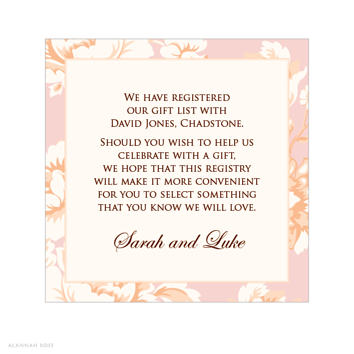 Wedding Gift Card Quotes: Rose Kiss Gift Registry Card