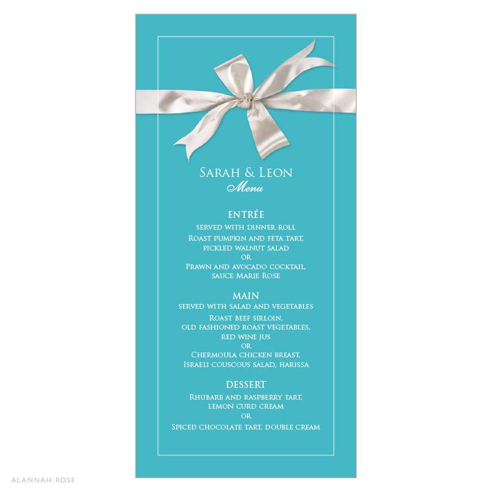 Tiffany Be Mine Menu Card