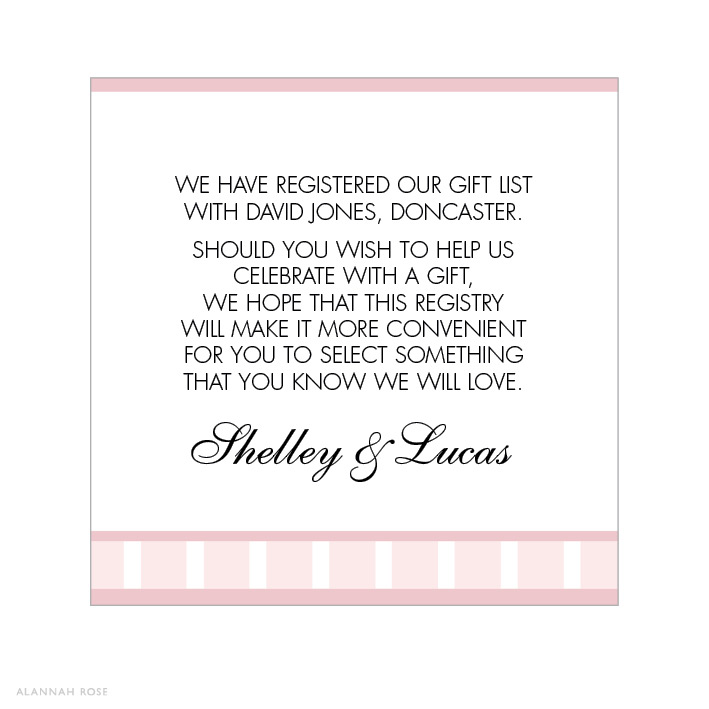 Wedding Invitation Registry Wording: Vintage Glamour Gift Registry Card