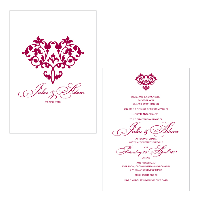 Hearts a Flutter A6 Wedding Invitation